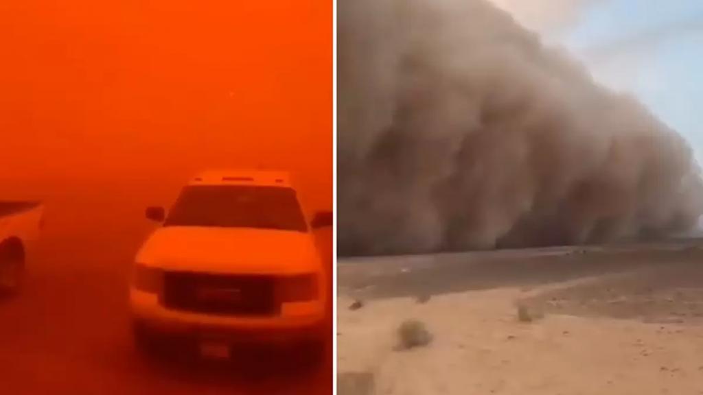 """بالفيديو/ أقوى عاصفة رملية تجتاح السعودية وتحول سماءها إلى """"الأحمر"""""""