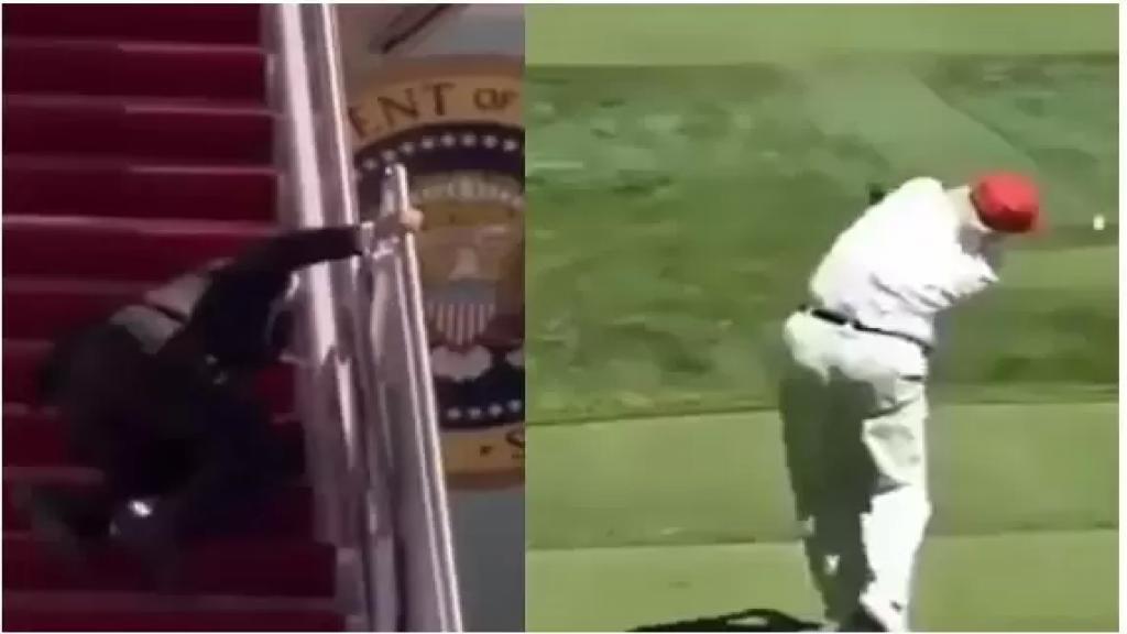 بالفيديو/ نجل ترامب يسخر من تعثّر بايدن أثناء صعوده إلى الطائرة الرئاسية..نشر فيديو معدّلاً يبدو والده فيه وهو يسدّد ضربات متكرّرة لكرة الغولف مباشرة على رأس بايدن!