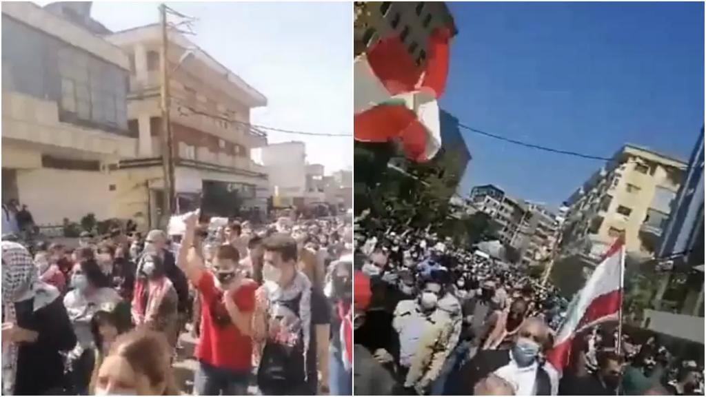 تظاهرة حاشدة في النبطية احتجاجًا على تردّي الأوضاع الإقتصادية