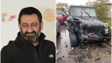 بالصور/ الفنان جورج خباز ينجو من حادث سير مروّع على أوتستراد جبيل