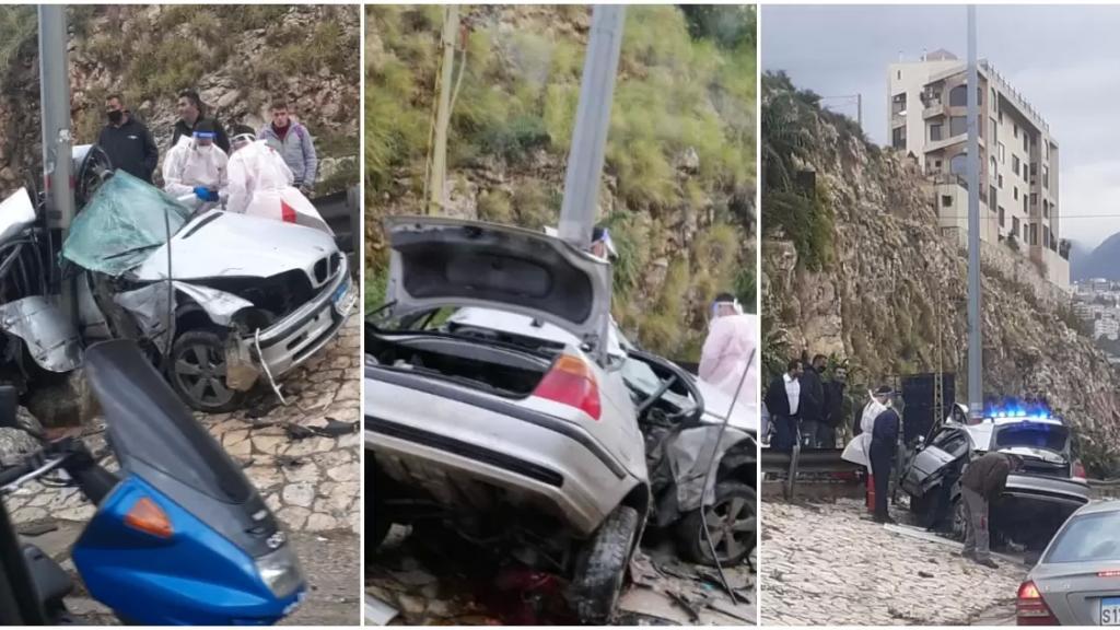 بالفيديو/ مأساة صباحاً على اوتوستراد طبرجا جونية...  قتيل باصطدام سيارة بعمود إنارة