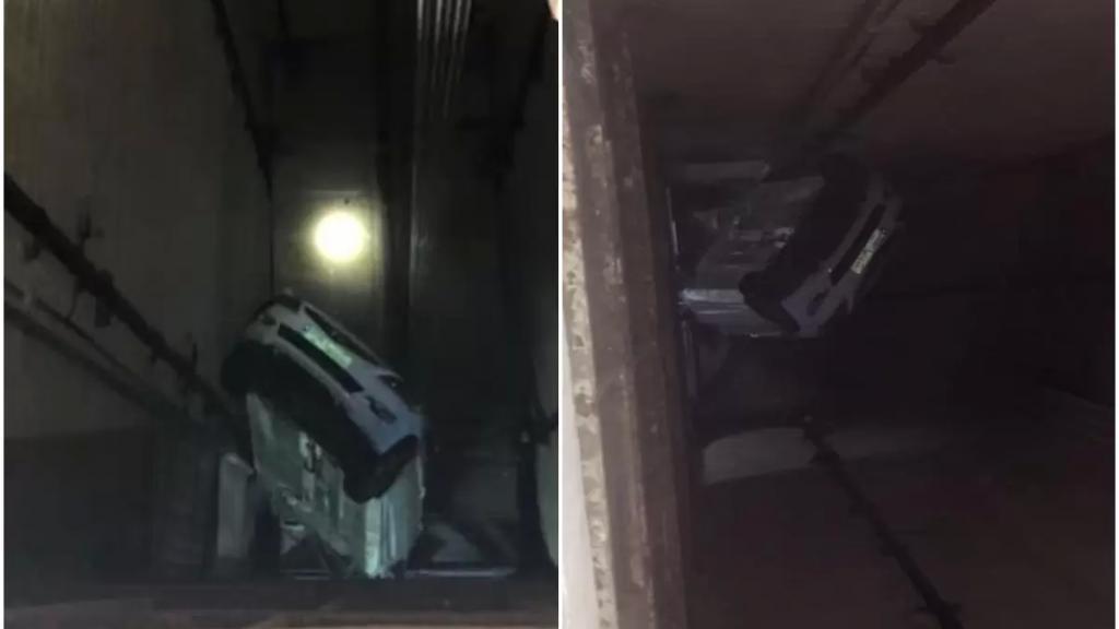 بالصور/ في الحمرا... سقوط سيارة داخل مصعد كهربائي!