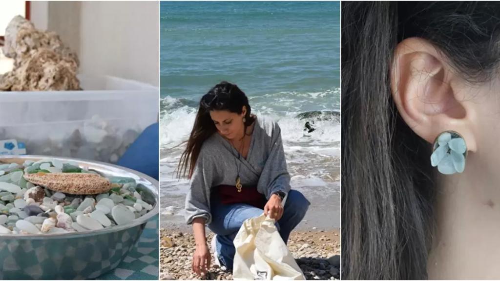 """بالصور/ الشابة اللبنانية """"ميرا"""" حولت حبها وشغفها بالبحر إلى مورد رزق: تصنع إكسسوارات مميزة من زجاج البحر"""