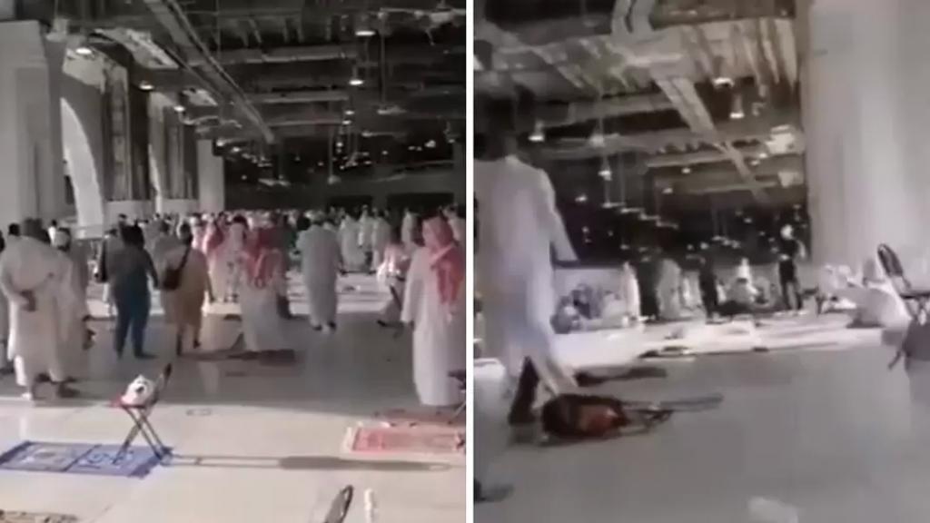 """بالفيديو/ """"داعشي في الحرم المكي"""".. السعودية تلقي القبض على مسلّح يحمل سلاحًا أبيض وهو يصرخ بين المصلين!"""