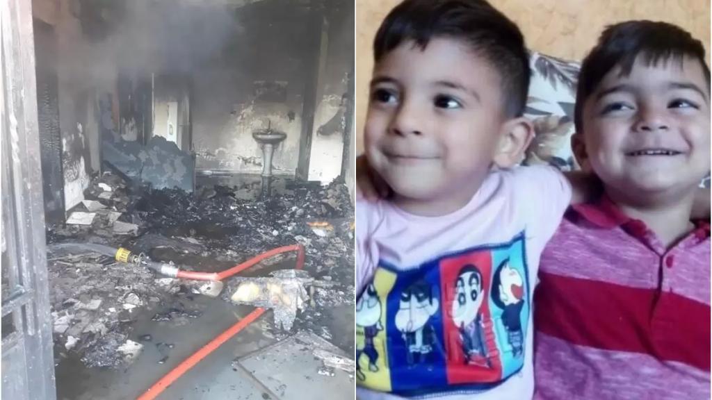 بالصور/ الحريق المؤسف في بريتال.. أودى بحياة الأم وأطفالها الثلاثة:  إيلي المعروف باسم علي (5 سنوات) وعباس (3 سنوات) ومريم (سنتان) والتهم محتويات منزلهم