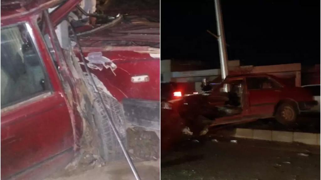بالصور/ اصطدمت سيارته بعمود إنارة... وفاة مواطن بحادث مروع في قبة دورس