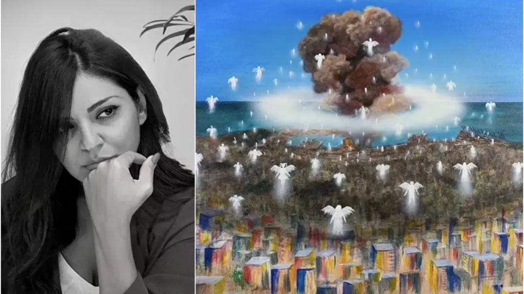 """بالصور/ """"فاطمة ضيا"""" صاحبة اللوحة الأشهر لكارثة انفجار مرفأ بيروت: """"الملائكة الصاعدة"""" بيعت بـ45 ألف دولار وساعدت 75 عائلة من العائلات الأشد فقراً"""