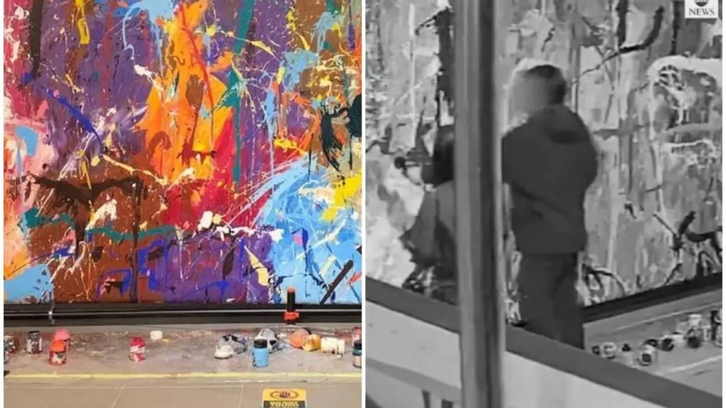 بالفيديو/ رسما عليها بالخطأ... زوجان يشوهان لوحة قيمتها نحو نصف مليون دولار!