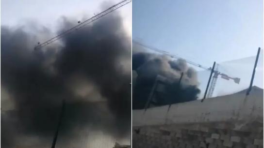 بالفيديو/ حريق كبير في مبنى ثكنة قوى الأمن الداخلي في عرمون