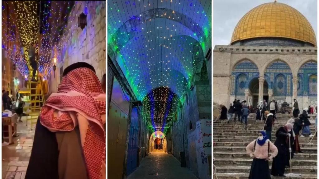 بالفيديو/ مدينة القدس وحاراتها القديمة تتزين لاستقبال شهر رمضان المبارك