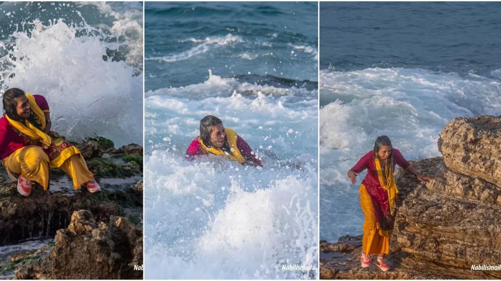 بالصور/ سيدة هندية عاشقة لبحر بيروت...بللتها الأمواج ثمناً لالتقاط صورة لها مع البحر ولكن الضحكة لم تفارقها!