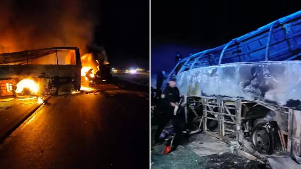 بالصور/ مصرع 20 شخصًا في حادث اصطدام حافلة تقل ركابًا بسيارة نقل في مصر
