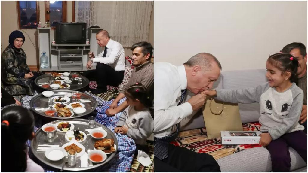 بالصور/ أردوغان يحل ضيفًا على مائدة إفطار أحد المواطنين البسطاء في قضاء مماق في العاصمة أنقرة