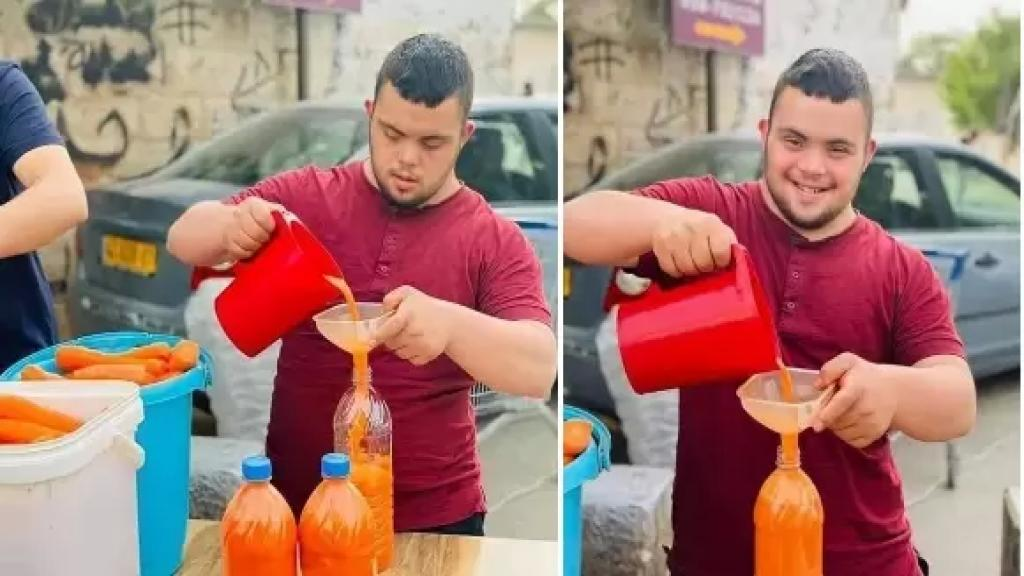 بروحه الطيبة...الشاب محمد لم يستسلم للحياة كونه مصاب بمتلازمة داون ويعمل على بسطة لبيع عصير الجزر للصائمين في رمضان في القدس!