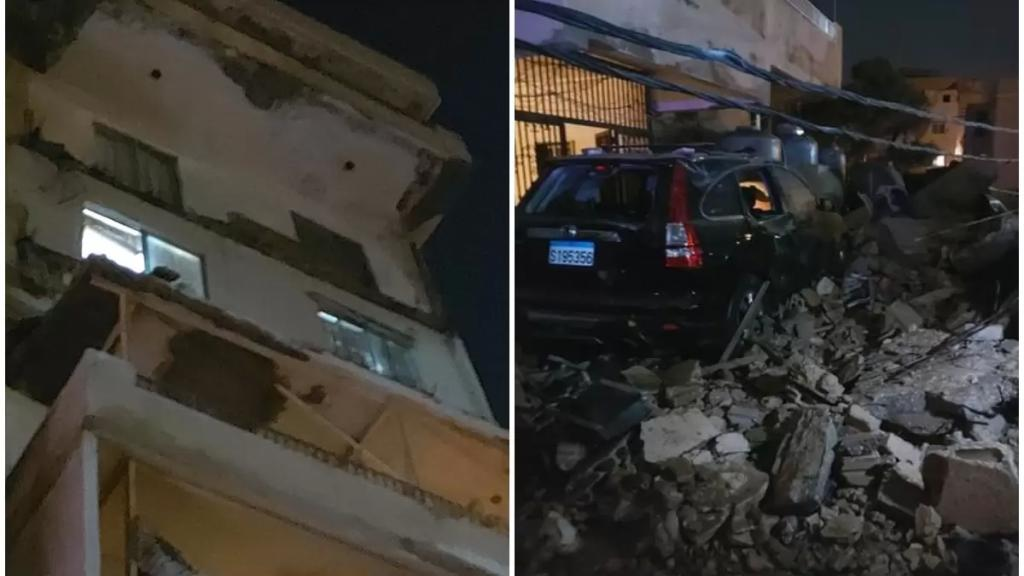 بالصور/ سقوط شرفتين من بناية عالية في صور .... اضرار كبيرة وحديث عن اشخاص تحت الردم