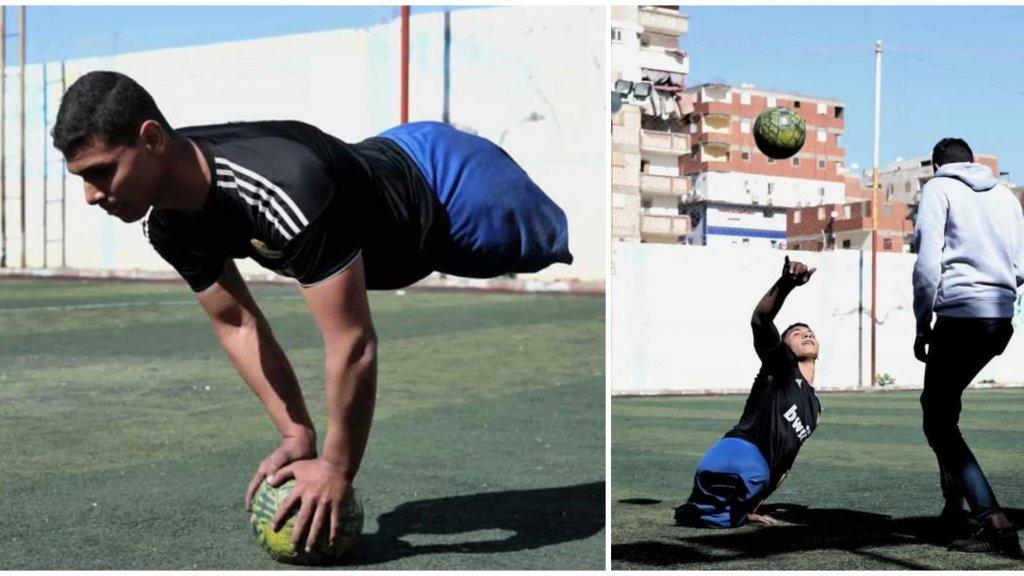 """بالفيديو/ """"كرة القدم أنقذتني""""...محمد شاب مصري فقد ساقيه لكنه لم يفقد حب الحياة ويلعب كرة القدم بيديه!"""