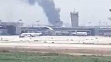 """فيديو  متداول للحريق بجانب مطار """"بن غوريون"""""""