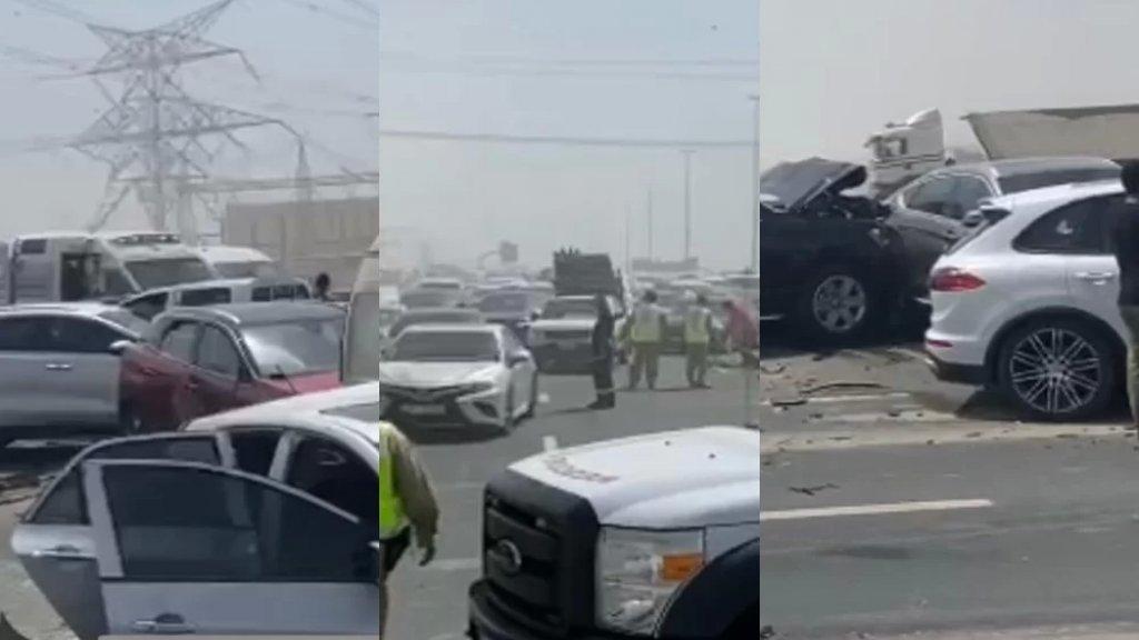 بالصور/ حادث ضخم في الإمارات.. تصادم 34 مركبة على شارع الإمارات من دبي باتجاه الشارقة