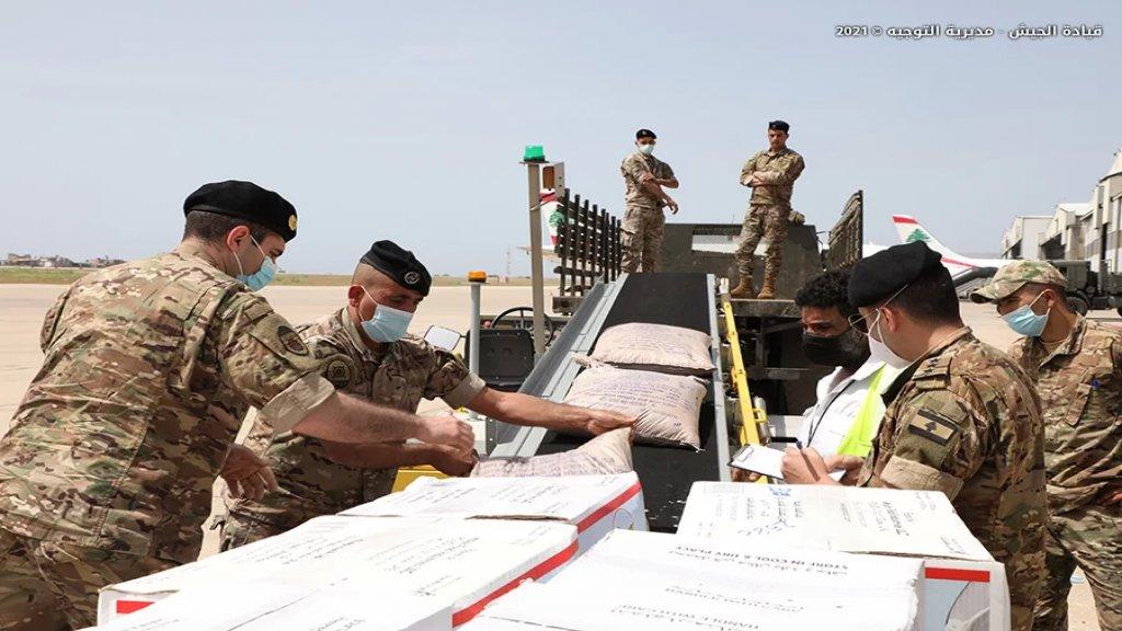 بالصور/  وصول طائرتين محمّلتين بـ 24 طناً من المواد الغذائية مقدّمة هبة من سلطنة عمان إلى الجيش اللبناني