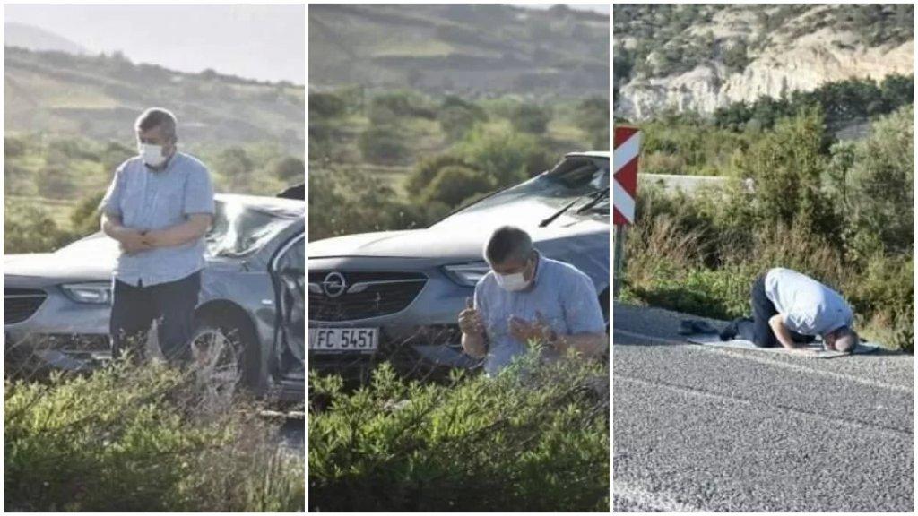 بالصور/ نجا من الموت المحتّم بعد حادث سير مروّع.. أخرج سجادة الصلاة من سيارته المحطّمة وصلى شكرًا لله!