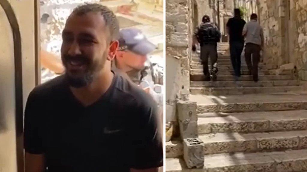 """بالفيديو/ طفل فلسطيني يسأل والده ببراءة عن """"شنطة ألعابه"""" خلال اعتقاله"""