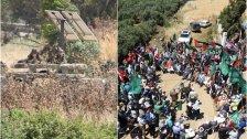 """بالصور/استنفار كبير للجنود """"الاسرائيليين"""" مقابل بلدة العباسية الحدودية بسبب تظاهرة حاشدة نصرة للشعب الفلسطيني"""