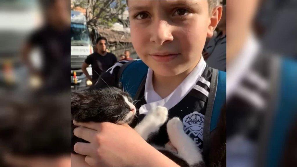 بالفيديو/ طفل فلسطيني يصطحب قطته معه خوفًا عليها في غزة