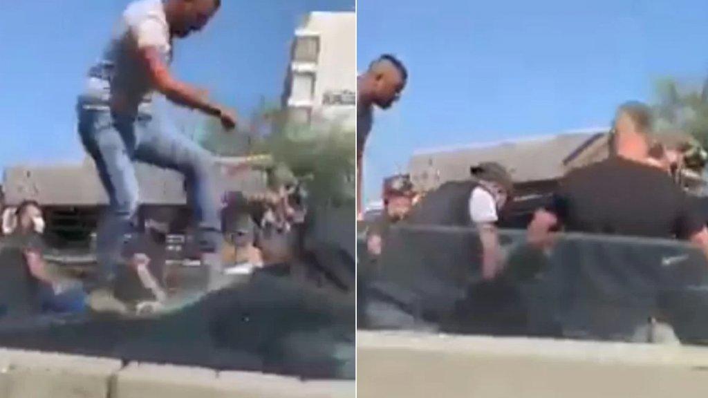 فيديو يوثق الاعتداء الذي وقع على سيارات وحافلات تنقل ناخبين سوريين على أوتوستراد يسوع الملك