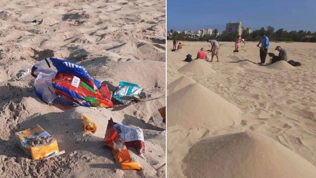 بالصور/ شُبان يغربلون شاطئ مدينة صور حبة حبة للتخلص من السموم النفطية وشُبان يستجمون ويرمون نفاياتهم!