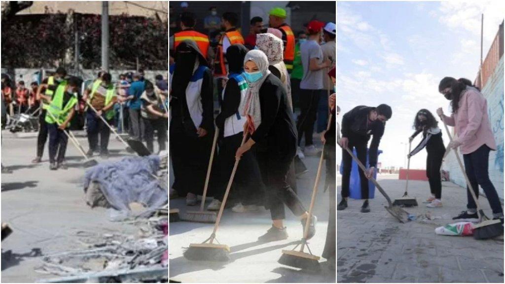 """بالصور/ """"حنعمّرها"""": حاملين المكانس.. أهل غزة نزلوا إلى الشوارع لمحو آثار الدمار وإعادة الإعمار"""