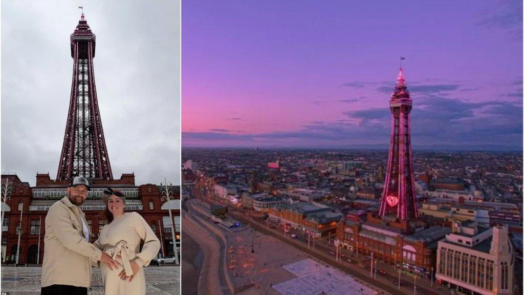 بالصور/ أكبر حفل لكشف جنس الجنين في بريطانيا... زوجان يضيئان برج Blackpool الشهير باللون الزهري !