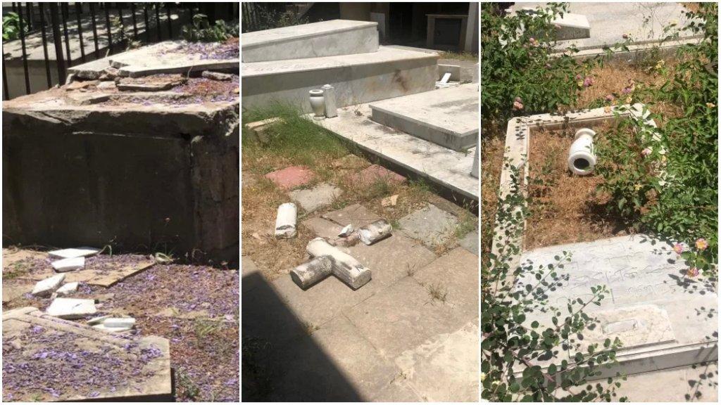 بالصور/ الإعتداء على حرمة المدافن الإنجيلية في بيروت ليل الخميس