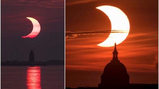 بالفيديو والصور/ كسوف حلقي للشمس يغطي النصف الشمالي للكرة الأرضية