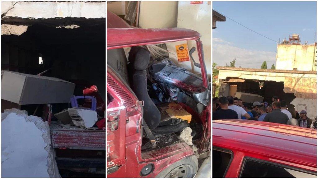 بالصور/ كارثة على طريق ابلح.. 3 قتلى و11 جريحًا نتيجة اصطدام شاحنة صغيرة بحائط محال لتصليح السيارات (الوكالة الوطنية)