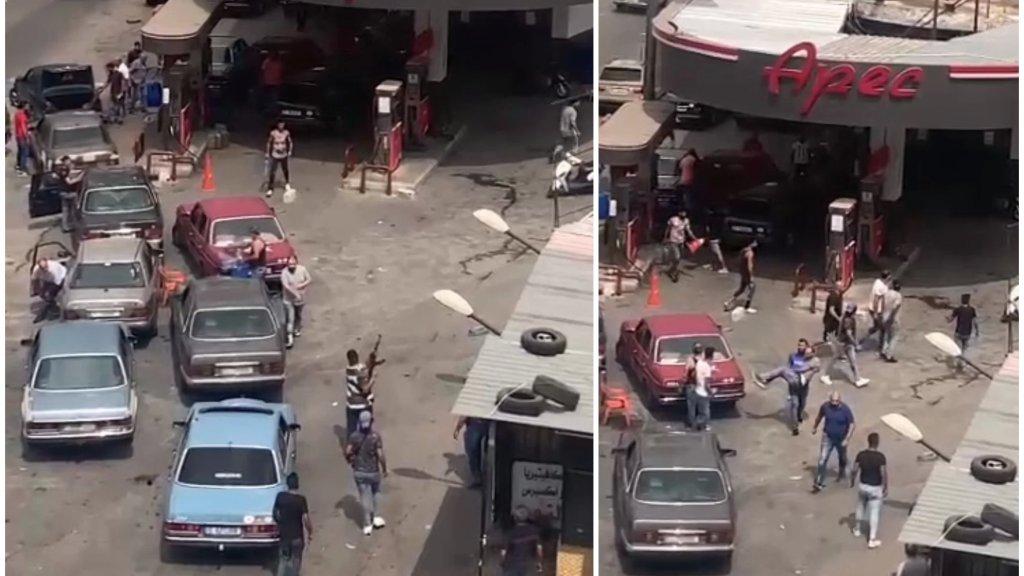 """فيديو يظهر الإشكال الذي وقع أمس على خلفية تعبئة الوقود امام محطة """"الريجي"""" في القبة بطرابلس والذي أدى الى سقوط جريح بعد إطلاق للنار!"""