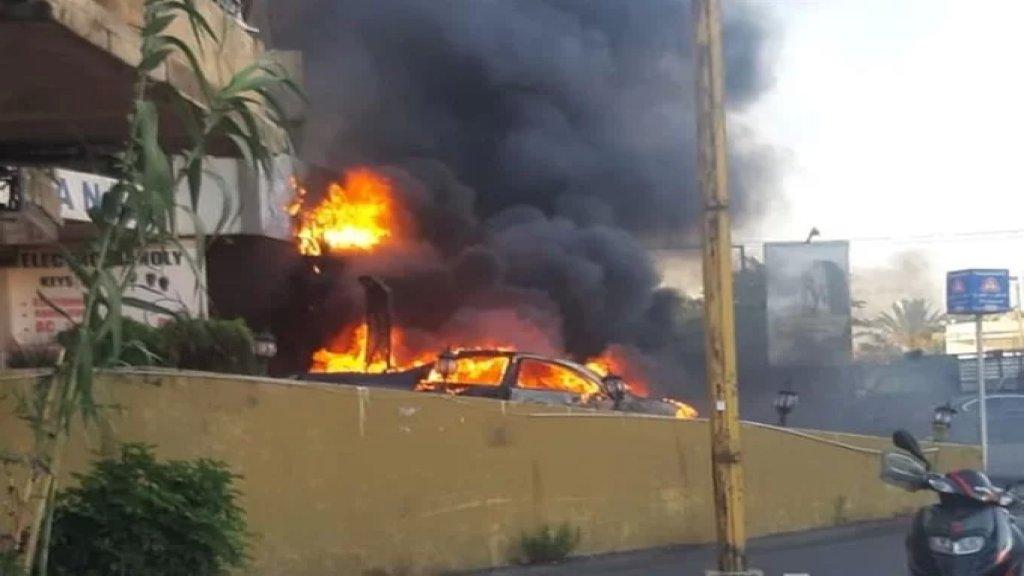 بالفيديو/ احتراق سيارة في منطقة الدكوانة والدفاع المدني عمل على إخمادها