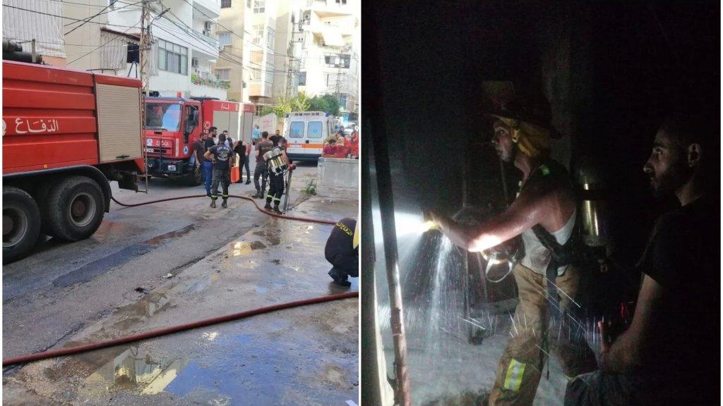 بالصور/  اشتعال النيران في مستودع للمازوت مؤلف من 12 خزانا في مبنى في عبرا
