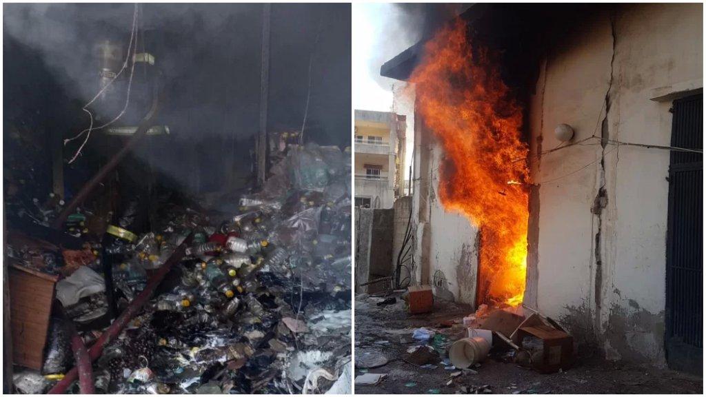 بالصور/ حريق ضخم يطال مستودعًا لعلب الزيت النباتي في القلمون - طرابلس والعثور على جثة متفحمة