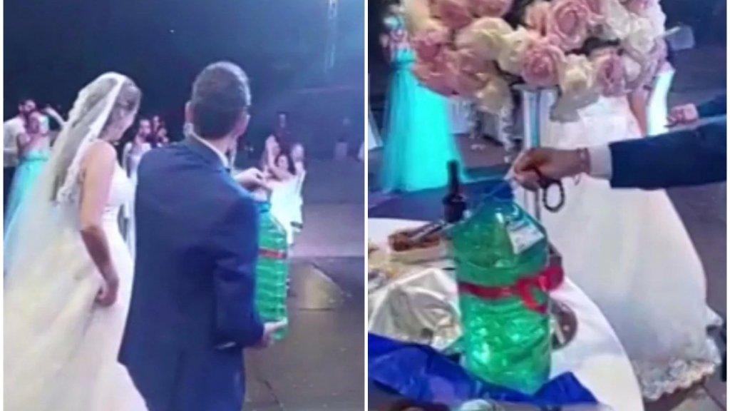 """""""غالون بنزين"""" هديّة لعروسين خلال حفل زفافهما!"""