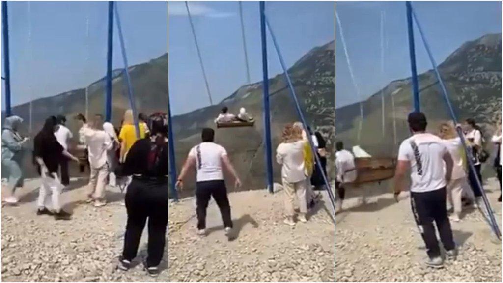 سقوط فتاتان من على أرجوحة على ارتفاع 6300 قدم.. ناشطون تداولوا الفيديو على أنه في لبنان والصحيح أنه في وادي سولاك بداغستان