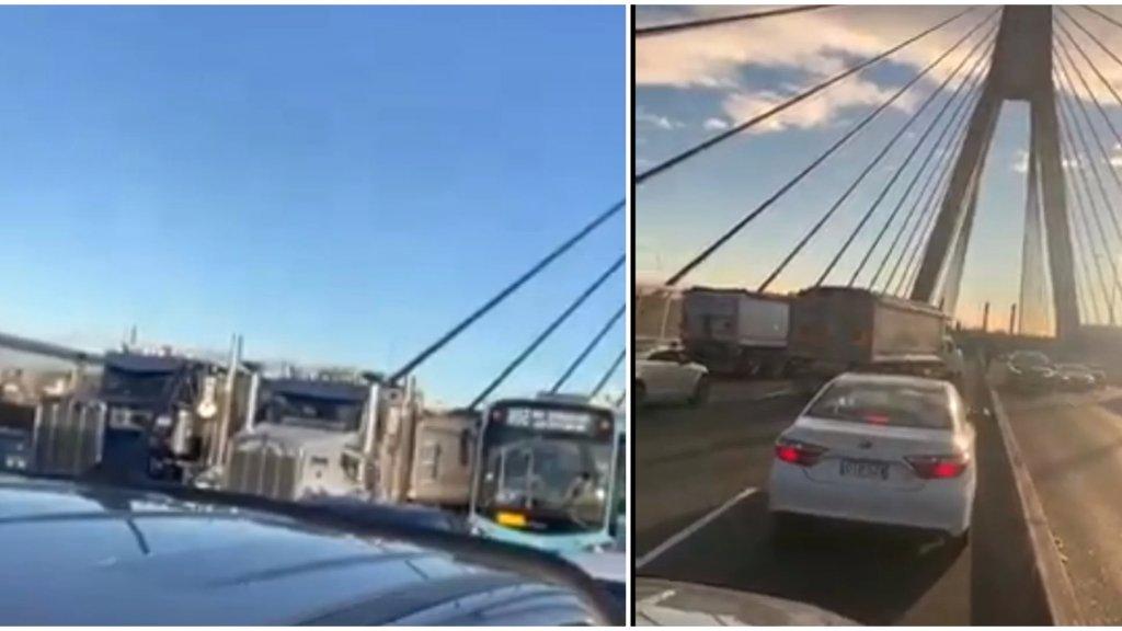 بالفيديو/ حتى في استراليا... إغلاق جسر انزاك في سيدني من قبل بعض سائقي الشاحنات اعتراضاً على قيود الاغلاق!