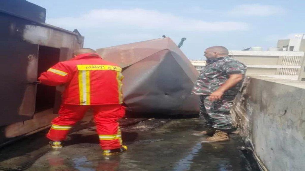فوج اطفاء بيروت :السيطرة على حريق خزان مازوت على سطح أحد الأبنية في كورنيش المزرعة