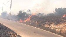 حريق كبير في خراج بلدة بينو والنيران من اقتربت بساتين الزيتون