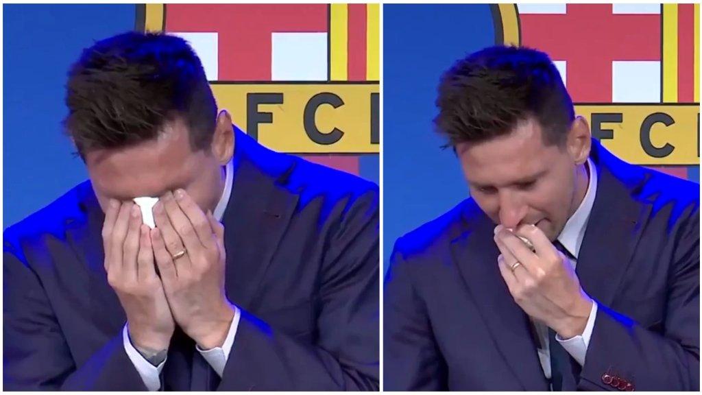 بالفيديو/ في مشهد لن ينساه جماهير كرة القدم العالمية... ليونيل ميسي يجهش بالبكاء أثناء المؤتمر الصحفي لإعلان رحيله عن برشلونة!