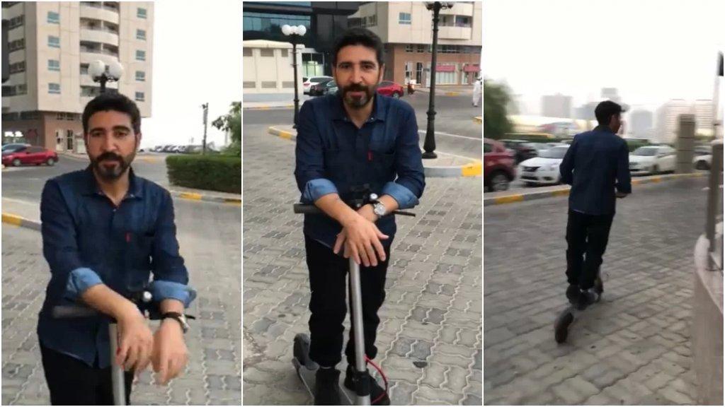 """بالفيديو/ الفنان وسام صباغ يعتمد """"سكوتر كهربائي"""" وسيلة للتنقل بسبب أزمة البنزين"""