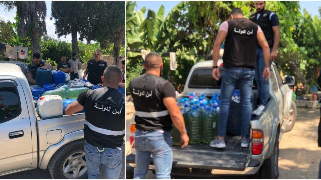 دورية من أمن الدولة تصادر كمية من غالونات البنزين داخل أحد البساتين في صور لإقدام صاحبها على بيعها بالسوق السوداء!