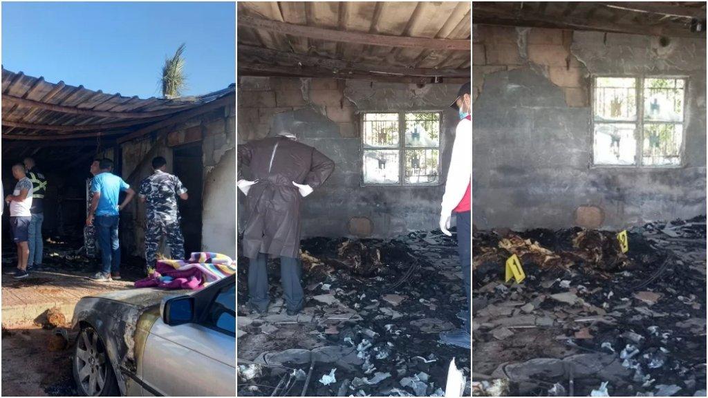 بالصور/ وفاة شاب وزوجته في حريق داخل غرفتهما حيث يعمل الشاب ناطورًا في معرض في سعدنايل