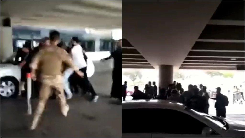 بالفيديو/ إشكال وتضارب في باحة الخروج من مطار بيروت الدولي وسط تدخل لعناصر الجيش