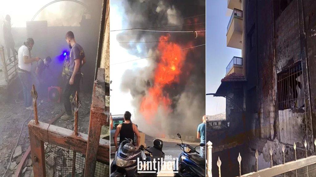 بالصور والفيديو/ بعد إخلاء المبنى من السكان أمس.. السيطرة على حريق كبير داخل مستودع في كفرحيم والنيران طاولت سيارات داخل المستودع