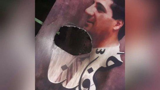 إحراق صورة بشير الجميل عند مدخل بلدة الحدث